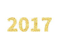 2017 type in Golden glitterstyle, template for banner, card. Poster, flyer, web, header. Vector gold glittering illustration EPS10 Stock Photo
