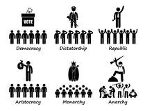 Type of Government in the World Cliparts Icons. A set of human pictogram representing different types of government. They are Democracy, Dictatorship, Republic stock illustration