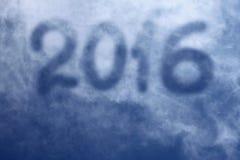 type 2016 haut en ciel bleu avec l'espace pour le label supplémentaire sur la carte Image libre de droits