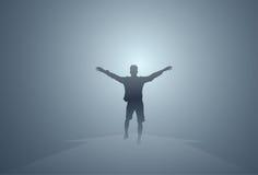 Type heureux d'isolement intégral élevé gai de mains d'homme noir de silhouette Photo libre de droits