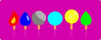 6 type of ice cream to represent ancient elements stock illustration
