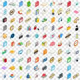 100 type icons set, isometric 3d style Royalty Free Stock Image
