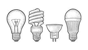 Type lampe électrique d'évolution Ampoule incandescente, halogène, cfl et mené illustration de vecteur