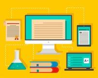 Type of learning background, flat style stock illustration