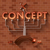 Type light. Text CONCEPT vector ball light on brick background Royalty Free Stock Images