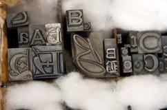 Type mélangé blocs d'impression typographique images stock