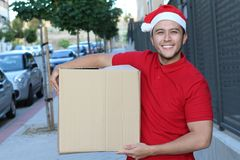 Type mignon de la livraison pendant la saison de Noël images libres de droits