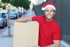 Type mignon de la livraison pendant la saison de Noël photos libres de droits
