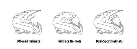 Type of Motorcycle Helmets Outline Vector. Royalty Free Stock Photo