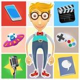 Type Of Nerd Geek & Dork Guy. A Guy Represented Of Gadget, Technology, Aliens, Film, Celebrities, Video Games, Nerd, Geek And Dork stock illustration