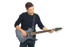 Type occasionnel avec la guitare Photo stock
