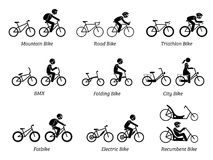 Free Type Of Bicycles And Riders. Stock Image - 124187181