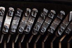 Type. An old typewriter, macro shot Stock Photos