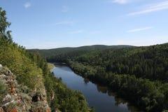 Type op rivier met hoogten Royalty-vrije Stock Fotografie