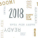 Type pattern happy 2018 seamless. Seamless pattern for New Year 2018 in Gold and Silver, color adjustable in vector Stock Photos