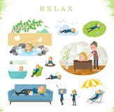 Type plat fille White_relax d'école illustration stock