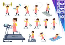 Type plat mom_exercise de tablier de cheveux de petit pain de ballet illustration de vecteur