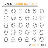 Type of short haircuts. 30 thin line icons. Isolated object. EPS 10 Stock Photo