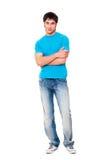 Type souriant dans le T-shirt bleu Images libres de droits