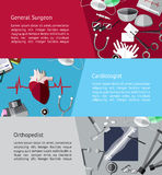 Type of specialist physicians doctor such as general surgeon, ca Stock Photo