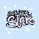 Type superbe slogan expressif d'étoile de typographie d'encre de métier de main illustration stock