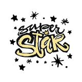 Type superbe slogan expressif d'étoile de typographie d'encre de métier de main illustration libre de droits