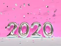 2020 type/text number pink wall scene 3d render. Ing vector illustration