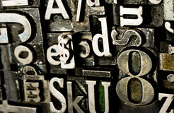 Type texte obsolète composé en métal de typographie de presse typographique photo stock
