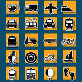Type of transportation and travel sticker icons stock illustration