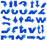 Type of various blue arrow set Stock Photo