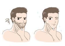 Men`s esthetic skin care set - Before and after vector illustration