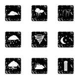Type of weather icons set, grunge style Royalty Free Stock Photography