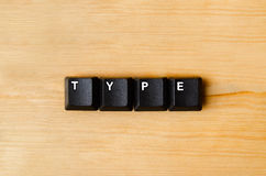 Type word. With keyboard buttons royalty free stock photos