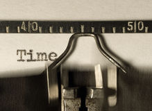 Type-writer. Time, written on a type-writer Royalty Free Stock Image