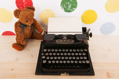 Type writer and vintage bear Stock Photo
