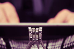 Typebars of an old typewriter forming the word love Stock Photography