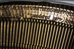 Typebars in a typewriter. Old write device, retro Stock Images