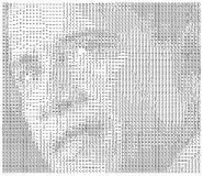 Typed Obama. President Obama's face written in ascii code with common letters on white background