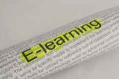 Typed text E-learning on paper Royalty Free Stock Photography