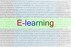 Typed text E-learning on paper Royalty Free Stock Image