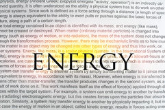 Typed text Energy on paper Royalty Free Stock Photo