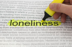 Typed text Loneliness on paper Stock Photos