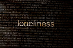 Typed text Loneliness on paper Royalty Free Stock Images