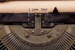 typed words on a Vintage Typewriter Royalty Free Stock Photo