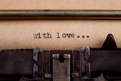 Typed words on a Vintage Typewriter Stock Photo