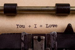 Typed words on a Vintage Typewriter Stock Images
