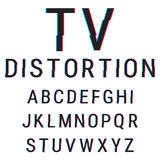 Typeface with glitch distortion. Alphabet stock vector illustration with aberration effect vector illustration