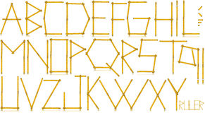 Typeface - Old Yellow Meter Ruler. Old wooden yellow meter ruler in the shape of letters and punctuation marks. on white background stock illustration