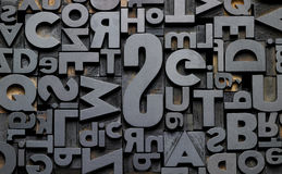 Typefaces in composition. Texture of old typefaces in composition Royalty Free Stock Photo