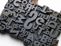 Typefaces in composition. Old typefaces in oblique composition Royalty Free Stock Photography